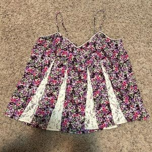 American Eagle Floral Lace Tank Top Size Medium